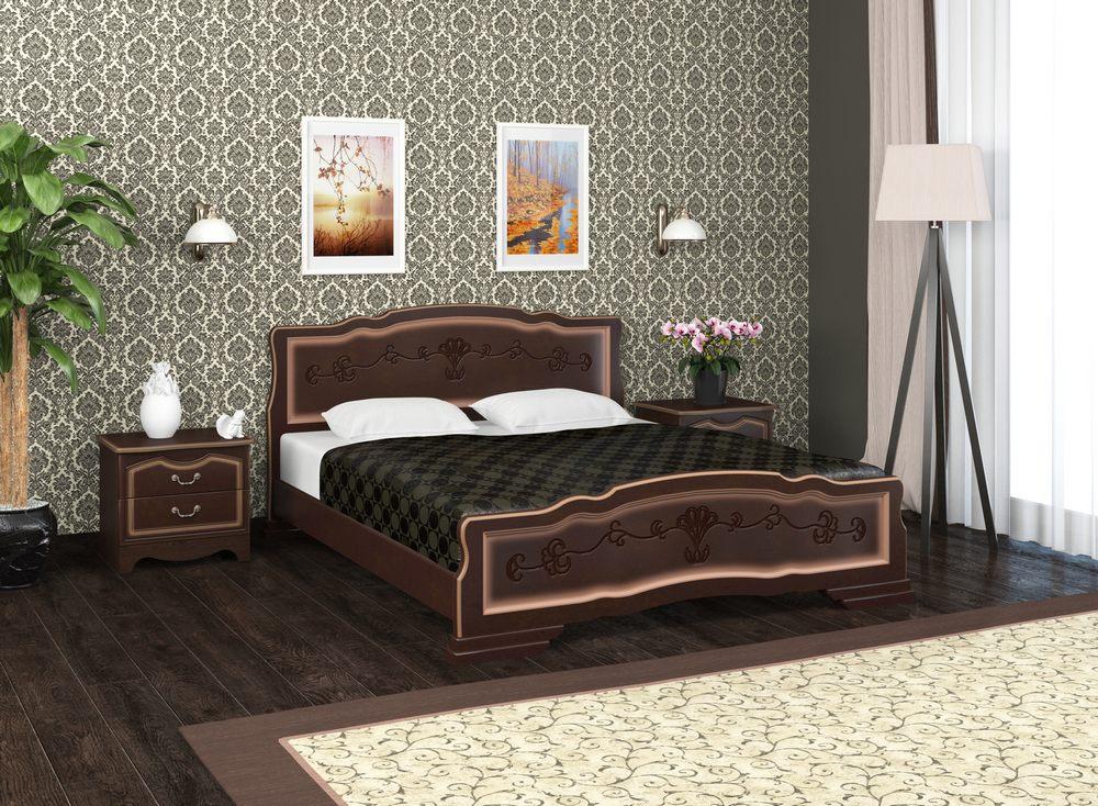 """Кровать """"114-6 B"""" Тёмный орех. Мебельный магазин Мебель Ленд. Санкт-Петербург"""